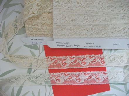Genuine Nottingham Cotton Cluny Lace Vintage style FC129 IVORY. Made in Great Britain
